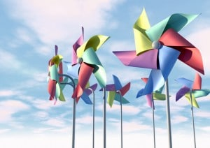 Colorful Pinwheels On Blue Sky Front
