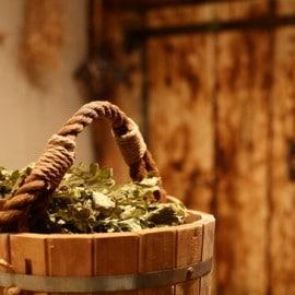 interior of russian wooden sauna
