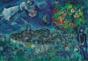 """М. Шагал """"Влюбленные Сент-Поль де Венс"""" (1958)"""